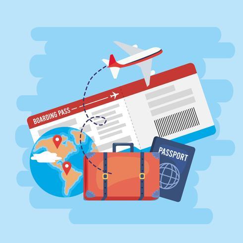 Flygbiljett med resväska och pass vektor