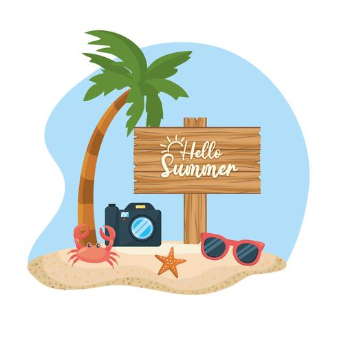 Palmträd med hej sommartecken på sand vektor
