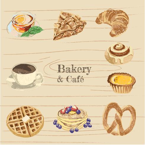 Bäckerei und Café Illustration Pack vektor