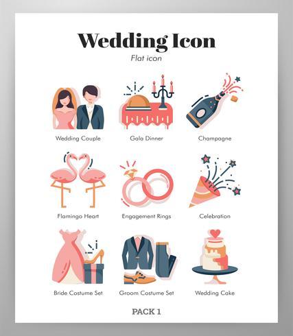 Bröllop ikoner pack vektor