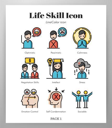 Livsfärdighet ikoner pack vektor