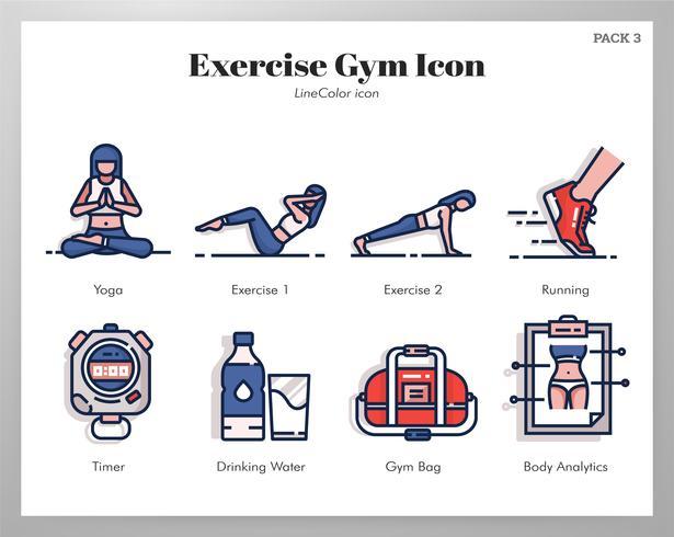 Motion gym ikoner pack vektor