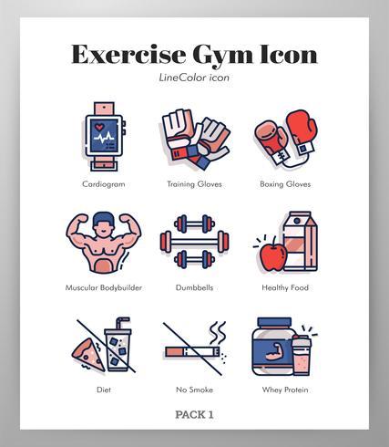 Motion gym ikoner set vektor
