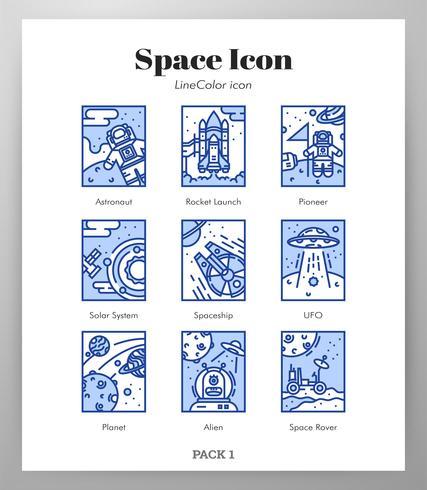 Space-Frame-Symbole LineColor-Pack vektor