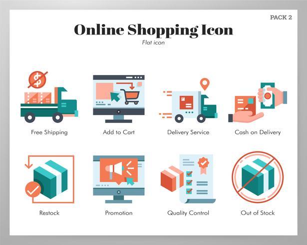 Online-Shopping-Ikonen-Flatpack vektor