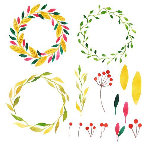 Vacker akvarell hösten krans samling vektor