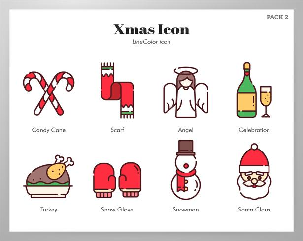 Weihnachts-Icons LineColor Pack vektor