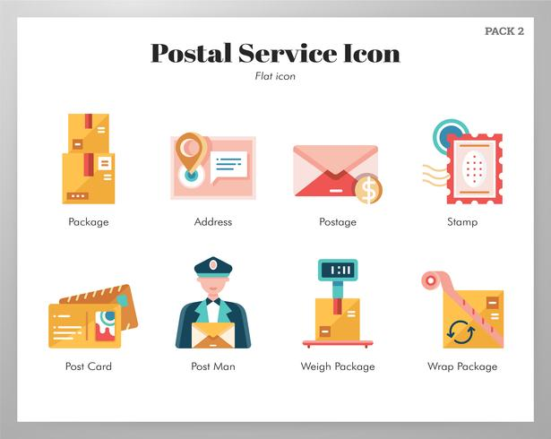 Post-Service-Ikonen-Flachpackung vektor