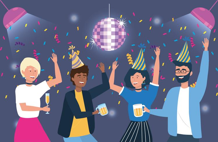 Junge Männer und Frauen, die an der Party tanzen vektor
