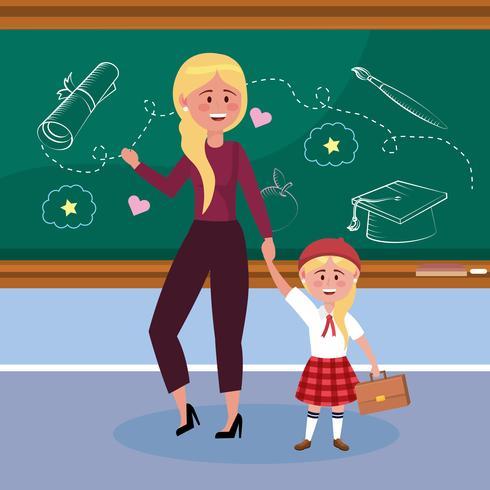Mutter und Tochter im Klassenzimmer vektor