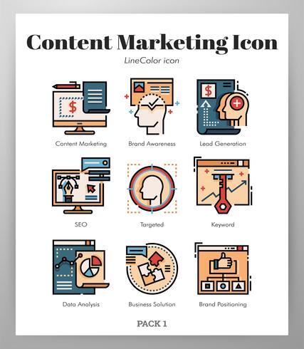 Ikoner för innehållsmarknadsföring LineColor pack vektor