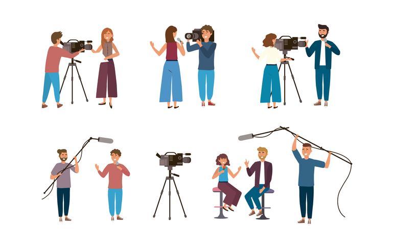 Uppsättning av kvinnliga och manliga kameraman och reportrar vektor