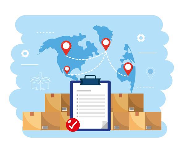 Checkliste mit Paketen und Weltkarte vektor