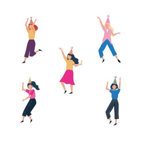 Uppsättning av kvinnor som dansar med partihattar vektor