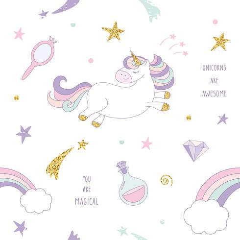 Magischer nahtloser Musterhintergrund des Einhorns mit Regenbogen, Sternen und Diamanten. vektor