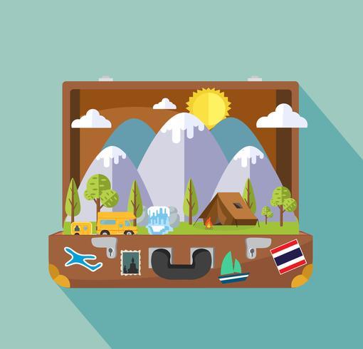 Öppen resväska med camping och resande objekt vektor