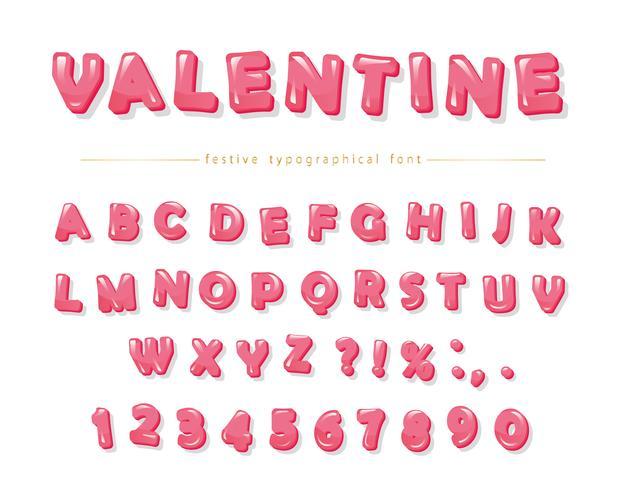 Glansigt rosa dekorativt teckensnitt. Tecknad ABC-bokstäver och siffror vektor