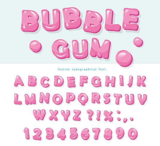 Bubble gum typsnitt design. Söta ABC-bokstäver och siffror. vektor