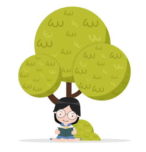 Flickan sitter och läser boken under trädet vektor