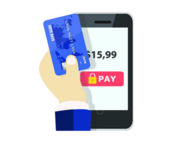 Betalning med kort online vektor