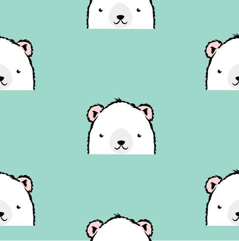 Söt vit isbjörnmönster vektor