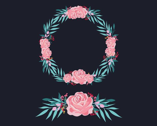 Rosa och blå blommig krans vektor