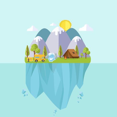 Camping och resor landskap ö vektor