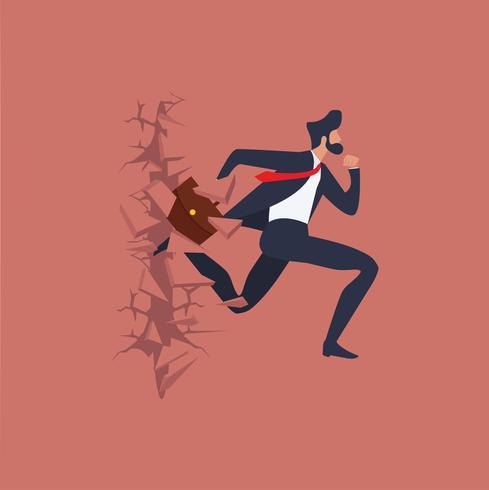 Geschäftsmann läuft und bricht durch die Wand vektor
