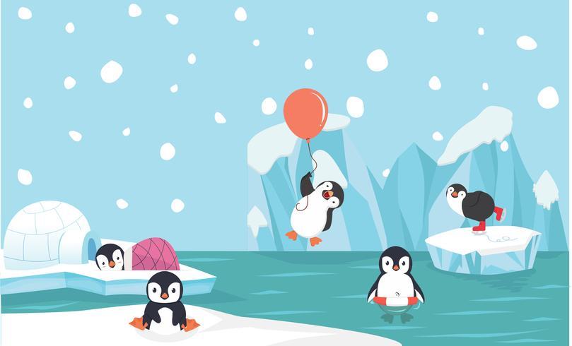 Nette Pinguincharaktere eingestellt mit Nordpolhintergrund vektor
