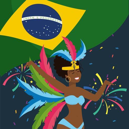 Weiblicher Karnevalstänzer mit brasilianischer Flagge und Feuerwerken vektor
