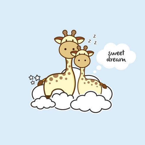 Gullig giraff klar för säng vektor