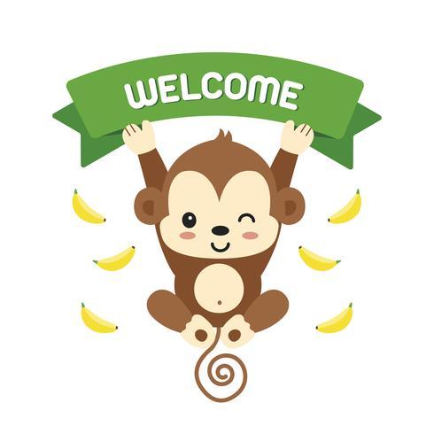 Lilla apa och bokstäver välkomna. vektor