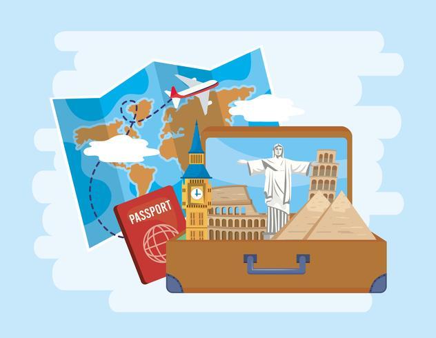 Landmärken i resväska med pass och karta vektor