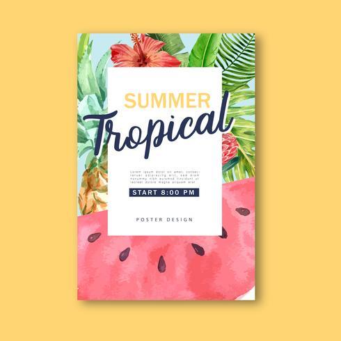 Sommar Tropisk akvarellaffisch vektor