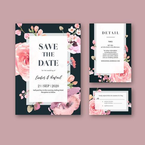 Blommig bröllopinbjudan rosa på svart kortuppsättning vektor