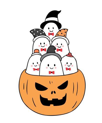 Halloween, spöken i pumpa vektor