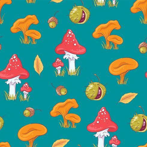 Autumn Mushroom und Kastanien-nahtloses Muster vektor