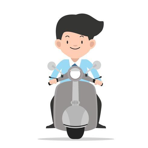 Geschäftsmann, der Vorderansichtmotorrad fährt vektor