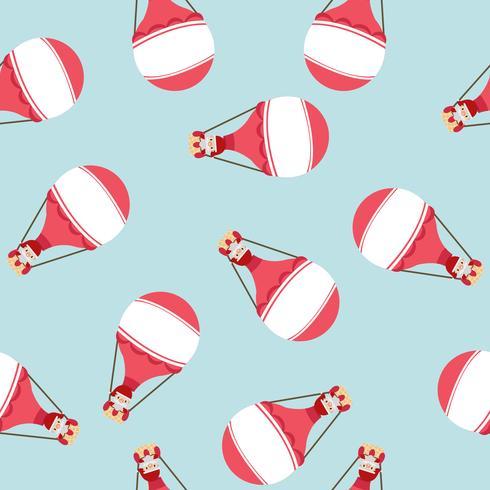 varmluftsballong med jultomtenmönster vektor
