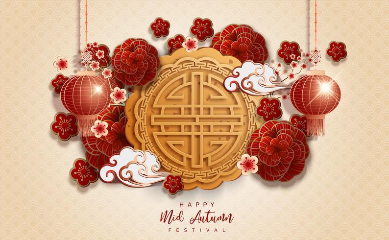 Kinesisk mitten av höstfestival bege bakgrund vektor