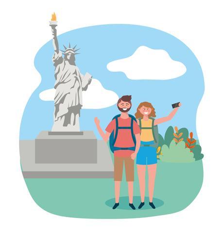 Kvinna och man framför statyn av frihet vektor
