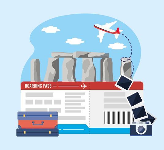 Stonehenge med flygbiljetter med kamera med resväska vektor