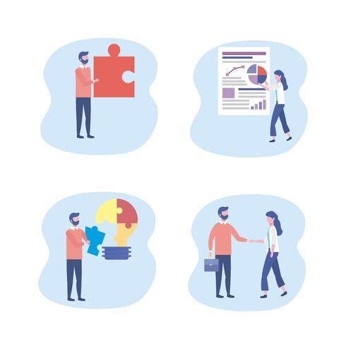 Satz von Geschäftsmännern und von Geschäftsfrau mit Puzzlespielen und Teamwork-Grafiken vektor