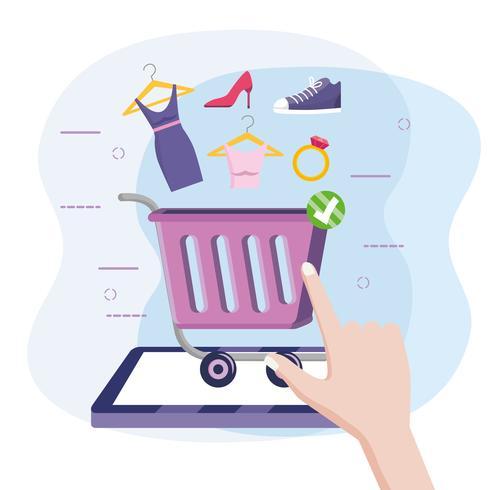 Tablet online einkaufen mit Warenkorb und Ware vektor