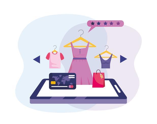 Online-Shopping-Tablet-Technologie mit Kreditkarte und Kleidung vektor