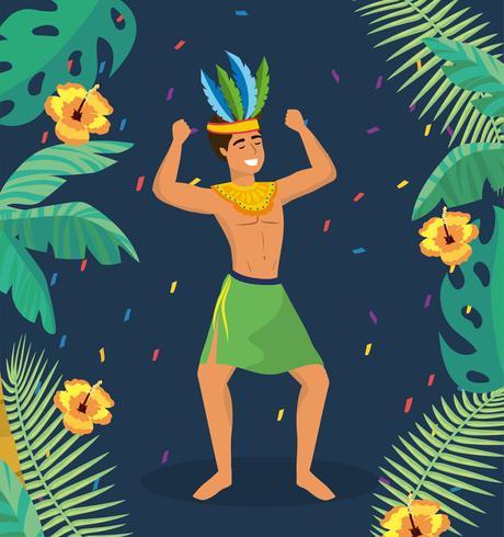 Männlicher Karnevalstänzer im traditionellen Kostüm vektor