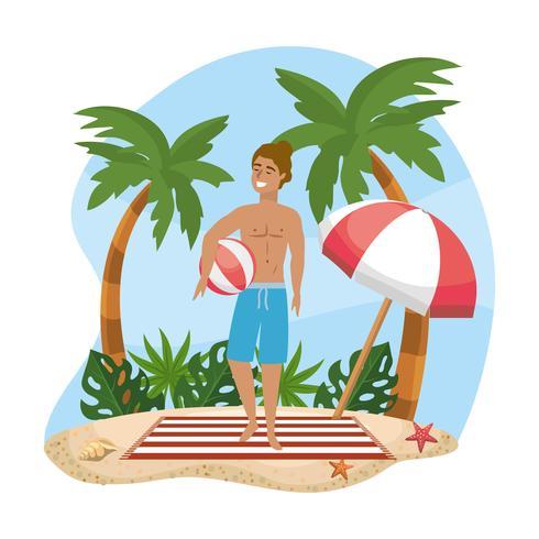 Man i baddräktinnehavstrandboll på stranden vektor