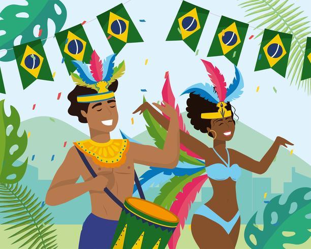 Manlig och kvinnlig karnevalmusiker och dansare vektor