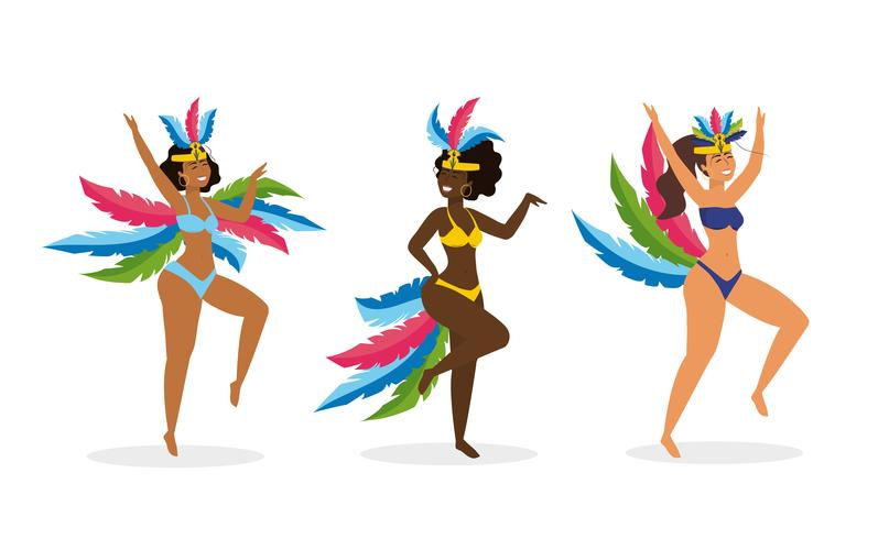 Satz weibliche Karnevalstänzer in den traditionellen Kostümen vektor