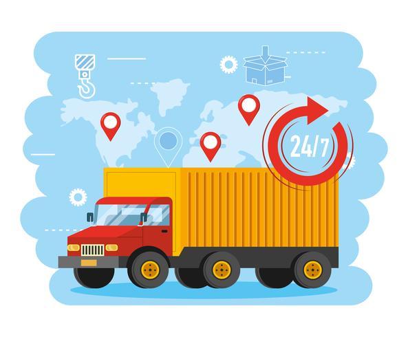 LKW-Transport mit 24 Symbolen und globaler Karte vektor